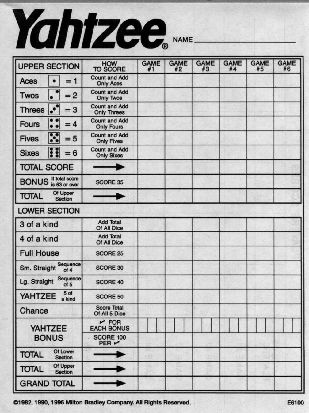 free printable sheet yahtzee score card